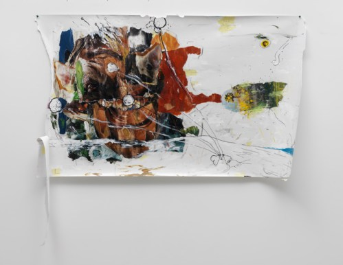 "William Pope.L - ""At the Beach,"" 2003-10, Acrylic, oil, pencil, ballpoint pen, paper on photo paper, 36 x 62 inches. Courtesy Mitchell-Innes and Nash."