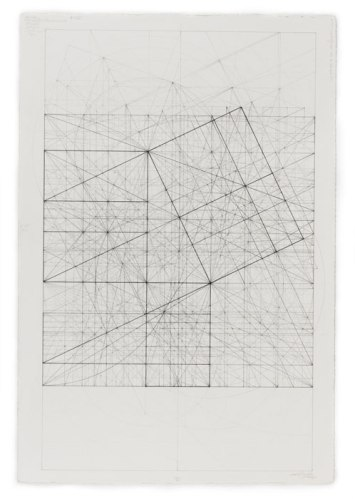 """Mark Reynolds - """"Greater and Lesser Dyad Series: Square Root Phi and Root Two, 7.13,"""" 2013, Graphite and ink on cotton paper, 20.625 x 12.75 inches"""