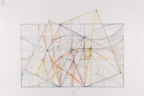 "Mark Reynolds - ""Greater and Lesser Dyad Series,Two Ogee Curves, 12.11,"" 2011, graphite, pastel and colored pencils on cotton paper, 13 x 15.75 inches. Sold"