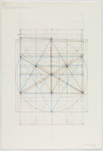 Marriage of Incommensurables Series, Root Three and Phi, Incircle and Circumcircle, III, 1.4.15 - 2015, Graphite and colored inks on cotton paper, 18.5 in. x 13.875 inches