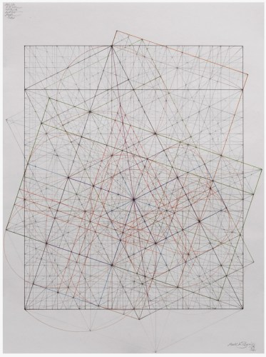"""Mark Reynolds - """"Minor Third Series: Circles and Phi, 11.18""""   2018 Graphite and ink on cotton paper 24 in. x 18 in."""