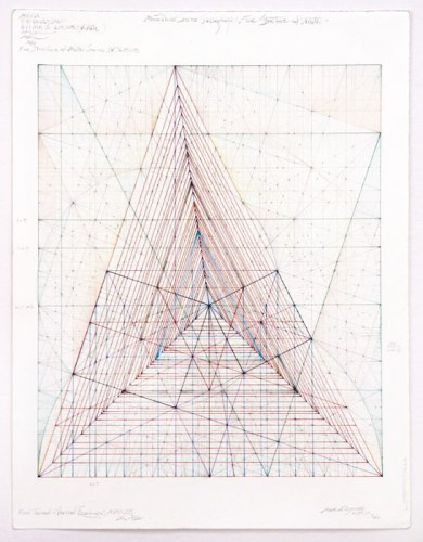 """Mark Reynolds - """"Fine Structure of Matter Series IV, 6.18.08,"""" 2008, Colored pencil and graphite on cotton paper, 12 x 10 inches"""