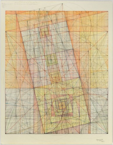 "Mark Reynolds - ""Minor Third Series: Phi Harmonics and Overtones, 1.13,"" 2013, Pastel, colored pencil, graphite and ink on cotton paper, 14 x 11 inches"