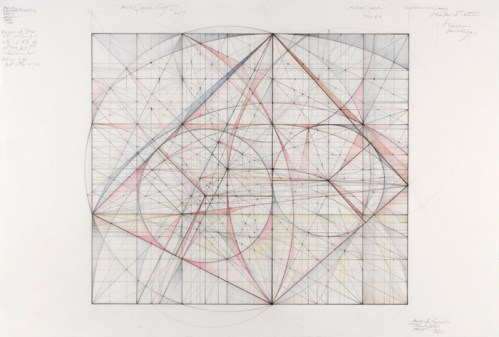 """Mark Reynolds - """"Musical Ratios Series, 6 to 7,"""" 2011, Graphite, pastel and colored pencil on cotton paper, 14 7/8 x 22 inches. Sold"""