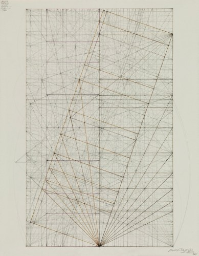 Phi Root Phi Series: Marriage to the 3.058 V1.29.15 - 2015, Graphite and burnt umber ink on cotton paper, 12.9375 x 8 inches