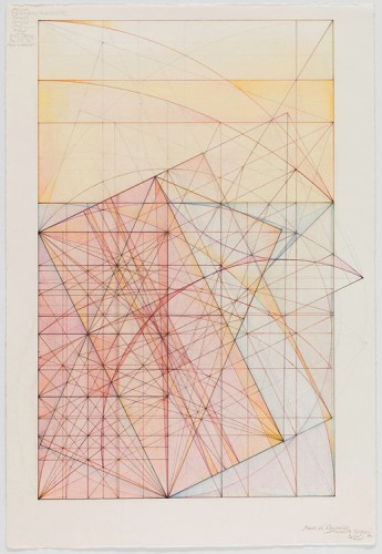 """Mark Reynolds - """"Phi Root Two Series: Marriage of the Mu and the Nu, 12.10.14,"""" 2014, Graphite, colored inks and pastel on cotton paper, 22 x 15 inches"""