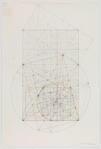 Phi Series: The Eight Centers of a Triangle and the Nine Point Circle, 9.4.14 - 2014, Graphite and colored inks on cotton paper, 21.75 x 14.25 inches. Sold