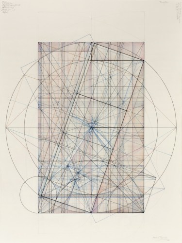 Phi Square Root Phi Series, 1.3.14 - 2014, Ink, graphite, and pastel on cotton paper, 21.875 x 16.875 inches