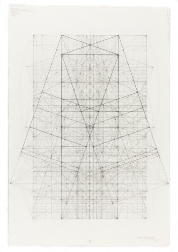 Phi Square Root Phi Series, Kites and Kimonos, 11.25.13 - 2013, Ink, graphite, and pastel on cotton paper, 17 x 14.5 inches