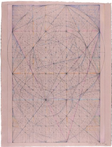"Mark Reynolds - Spiritual Jukebox Series: Ode to Moons, XV,"" 2012, Ink, pastel and graphite on handmade mauve paper, 25 5/8 x 19 3/8 inches"