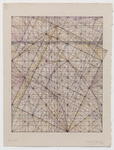 "Mark Reynolds - ""Square Root Phi Series: Autumn Roots, 7.27.14,"" 2014, Graphite, colored inks, and pastel on cotton paper, 12.125 x 9.5 inches. Sold"