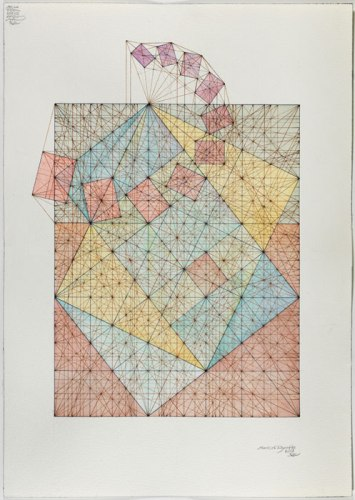 "Mark Reynolds - ""Square Root Phi Series: Spiral, 2.13,"" 2013, Watercolor, pen and ink on cotton paper, 20 x 14 inches"