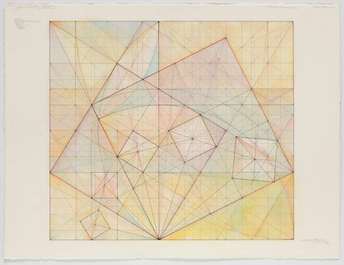 "Mark Reynolds - ""The 1.118 Series Spiraling Squares 2.20.15,"" 2015, Graphite colored inks, and pastel on cotton paper, 22.25 in. x  29 1/8 inches"
