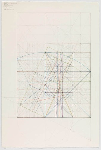 """Mark Reynolds - """"The Phi Root Two Series: Marriage of the Mu and the Nu V, 11.1.14,"""" 2014, Graphite and colored inks on cotton paper, 21.75  x 14.125 inches. Sold"""