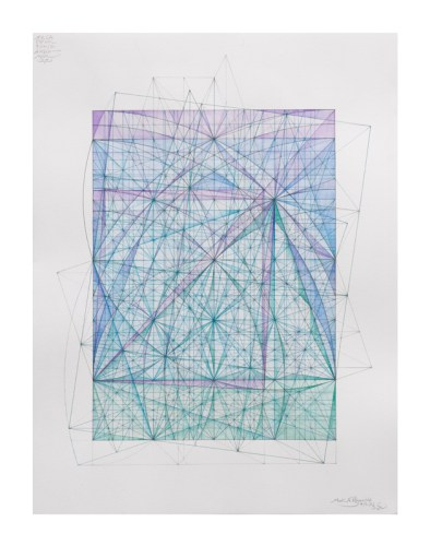 """Mark Reynolds - """"Marriage of Incommensurables Series: the Serlio and KCW Triangles, 4.21.21""""   2021 Watercolor and ink on cotton paper 24 in. x 18 in. $4200"""