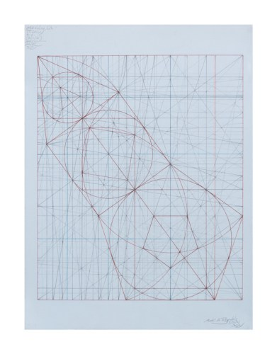 """Mark Reynolds - """"Polygon Series: the 3-, 4-, 5-gon Progression, 3.21.21""""   2021 Graphite and ink on blue tinted cotton paper 15 in. x 11 in. $3200"""