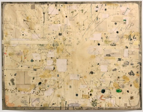 David Scher - Untitled, 2015, Mixed media on paper, 35 x 44.75 inches. Sold.  DS122