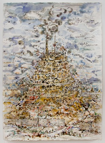 """David Scher - """"Babel and Smoke,"""" 2018, Mixed media on paper, 45 x 35 inches"""