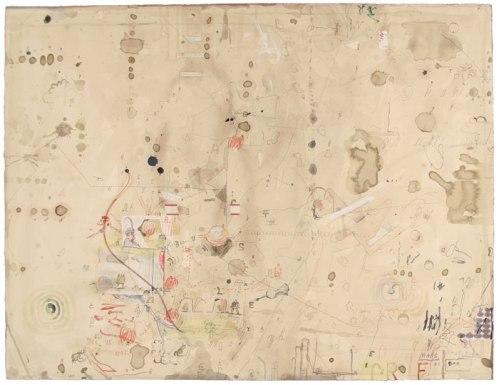 Bagnolo Series W11 - 2011, Ink, pencil, collage, and string on paper, 19 5/8 x 25 3/4 inches