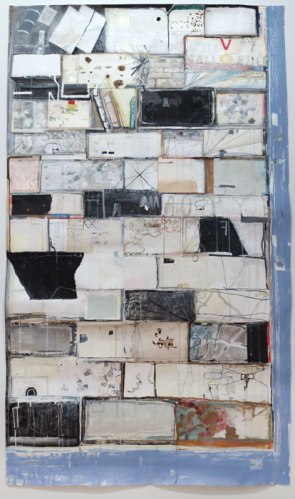 """David Scher - """"Case One,"""" 2014, Flashe and ink on Arches paper, 46 x 78.75 inches"""