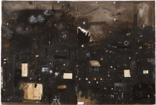 """David Scher - """"Untitled (Diptych),"""" 2012, Mixed media on paper, 29.75 x 44.5 inches overall"""