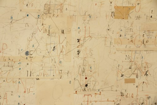 """David Scher - DETAIL: """"Department of Lettering II,"""" 2020, Mixed media on paper, 17 x 20.5 inches"""