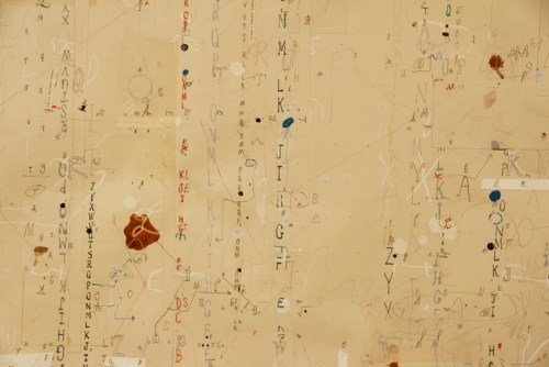 """David Scher - DETAIL: """"Department of Lettering III,"""" 2020, Mixed media on paper, 17 x 20.5 inches"""