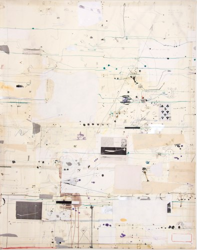 """David Scher - Detail (Panel III): """"Score 19,"""" 2016, (Four sections), Mixed media on paper, mounted on four wood panels, 46 x 176 inches overall"""