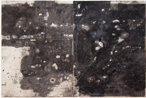 """David Scher - """"Score Black but Green Black I,"""" (Diptych), 2016, Mixed media on paper, 39.75 x 59.75 inches"""
