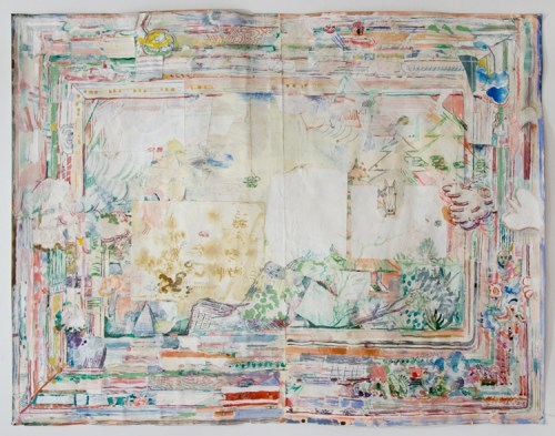 "David Scher - ""Stage,"" 2015-18, Mixed media on paper, 35 x 45.5 inches"