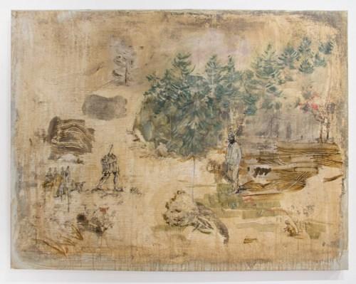 "David Scher - ""still,"" 2017, Mixed media on panel, 37.75 x 50 inches"