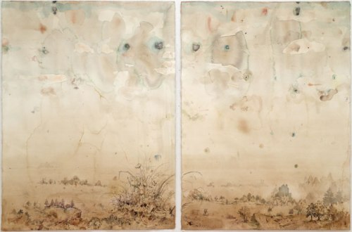 """David Scher - """"Untitled,"""" 2012 (Diptych), Mixed media on paper, 30 x 44 inches"""