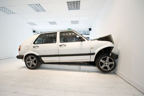 """Jonathan Schipper - Schipper's """"Slow Motion Car Crash"""" will be installed at The Armory Show 2016, Pier 92 (to the left of the front entrance) (This photograph is an installation view of an earlier version of this work at Newcastle upon Tyne, UK, by Locus+)"""