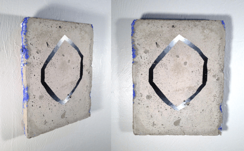 """Sharpening Dulled,"" 2013, Concrete, powdered pigment, gouache, 10 x 7 inches"