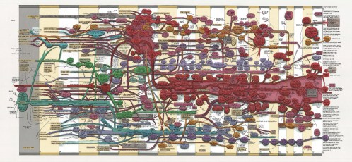 """Ward Shelley - """"Extra Large Fluxus Diagram V. 3,"""" 2011, oil and toner on mylar, 35 x 74 inches."""