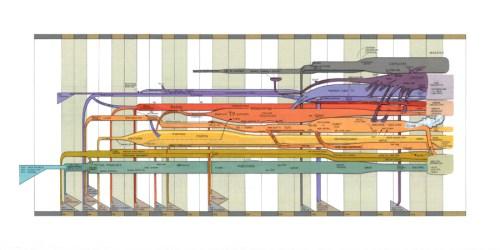 """Ward Shelley - """"Media Tech, v.1,"""" 2016, Acrylic and toner on mylar, 29 x 58 inches"""