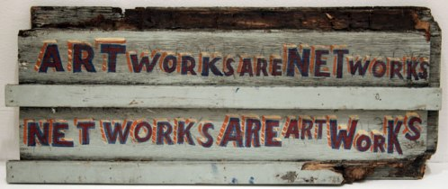 Artworks Are Networks (back of New York City is an Artwork) - 2011, enamel on found material, 30 x 12 x 2 inches