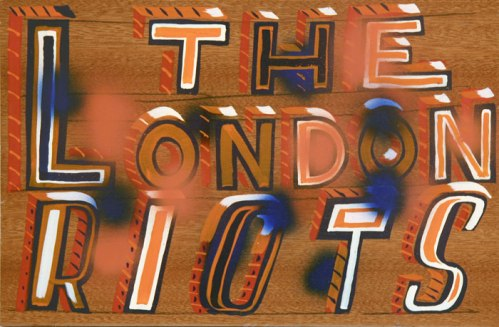 London Riots - 2011, enamel on found material, 15.5 x 10 x 1 inches