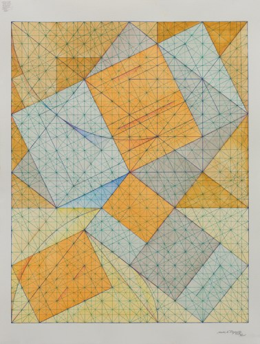 """Mark Reynolds - """"Square Root Phi Series: Further Disruptions, IV, 5.17,"""" 2017, Watercolor and ink on cotton paper, 24 x 18 inches"""