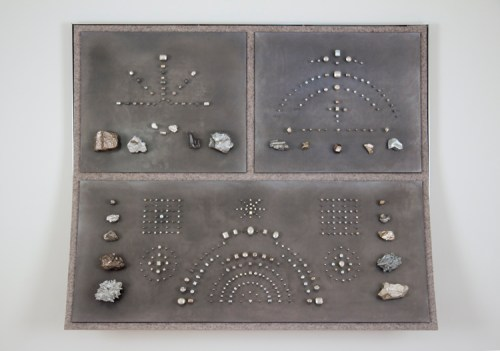 "John Stoney - ""Gems,"" 2017, Elemental Aluminum, Antimony, Bismuth, Cadmium, Indium, Iron, Lead, Nickel, Silver, Tin, Zinc, Felt, 40.5 x 48 x 9.5 inches"