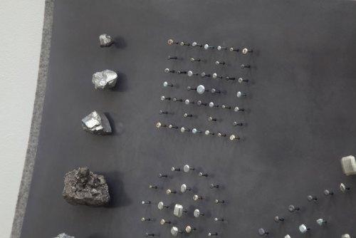 "John Stoney - Detail:  ""Gems,"" 2017, Elemental Aluminum, Antimony, Bismuth, Cadmium, Indium, Iron, Lead, Nickel, Silver, Tin, Zinc, Felt, 40.5 x 48 x 9.5 inches"