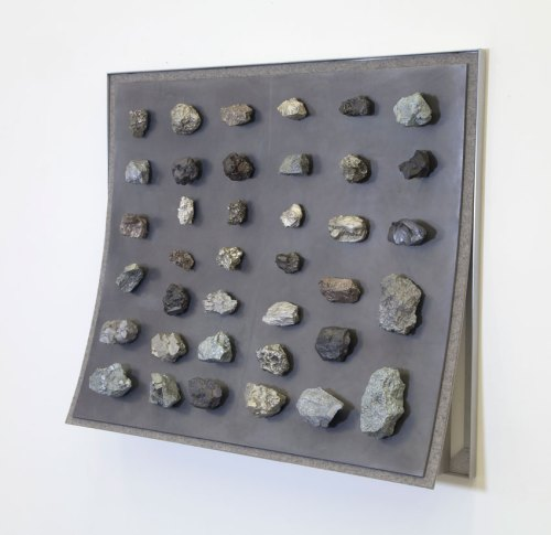 "John Stoney - ""Minerals,"" 2017, Elemental Aluminum, Antimony, Bismuth, Cadmium, Indium, Iron, Lead, Nickel, Silver, Tin, Zinc, Felt, 40.5 x 48 x 9.5 inches"