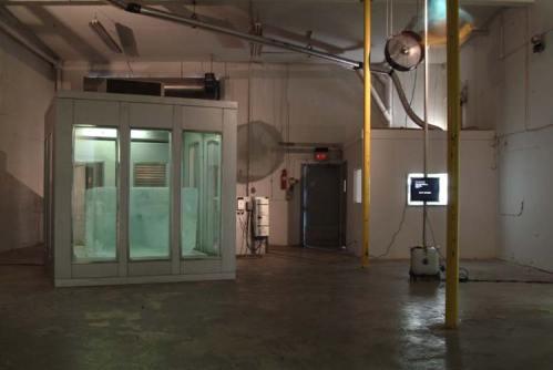 Arctic ice in solar powered glass freezer - Installation, Miami, 2006