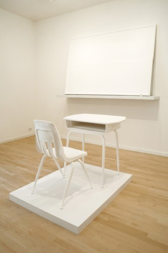 Chair From Thelma Gibson; Desk from Thelma Gibson; Notes (Chalkboard). - 2007-08, Cast in calcium carbonate, Ed. 2 of 3