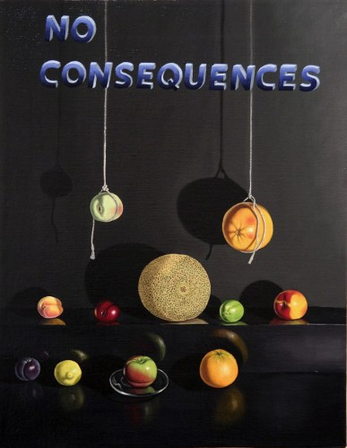 """Lynn Talbot - """"No Consequences,"""" 2011, oil on linen, 14 x 18 inches"""