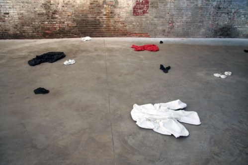 Jude Tallichet - Abandoned Clothes, cast architectural stone, ed. of 3 each, dimensions variable.