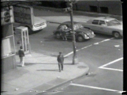 "Prostitute Soliciting - Still from video ""Atlantic in Brooklyn,"" 1971-72. Collection of the artist."