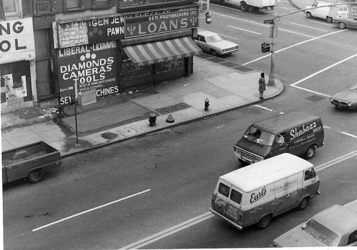 Brooklyn Loans Corner - 1971-1972. Black and white photograph. Collection of the artist.