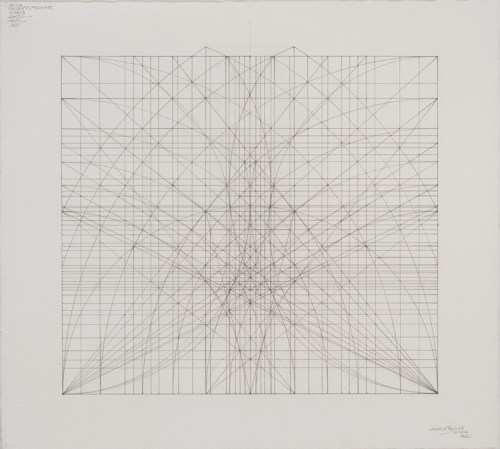 "Mark Reynolds - ""The 1.111 Series: New Energies from an Ancient Wonder, 10.29.16,"" 2016, Graphite on cotton paper, 20.25 x 22.5 inches"