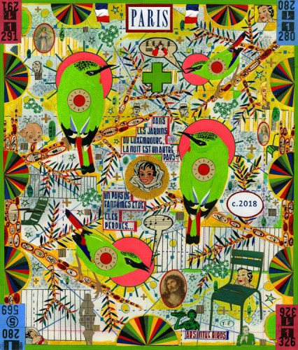 """Tony Fitzpatrick - """"The Geography of a Dream of Paris (Night Is Another Country),"""" 2018. Sold"""